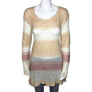 Free People Crochet Knit Long Tunic Sweater